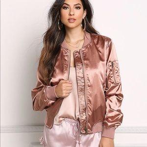 Boohoo Rose Gold Satin Bomber Jacket